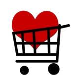 Shopping cart. Whit heart inside Stock Photography