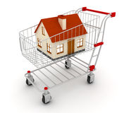 Shopping cart. And home. 3D render vector illustration