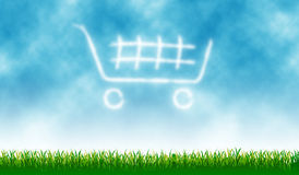 Shopping Cart. Icon with outdoor cloud - background vector illustration