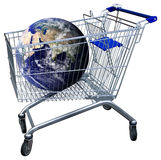 Shopping cart. Shopping trolley with earth globe issolated on white with clipping path. Some components of this image are provided courtesy of NASA, and have Royalty Free Stock Photography