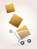 Shopping Cart. Overloaded with products. sale concept Stock Photos