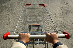 Shopping-cart. An elevated view of a single empty shopping-cart Stock Image