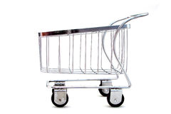 Shopping cart. A shopping cart on a white background Stock Photos