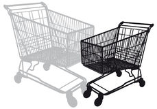 Shopping cart,. Shopping cart silhouette,  illustration Royalty Free Stock Image
