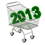 Shopping cart with a 2013 christmas tree font. Royalty Free Stock Photo