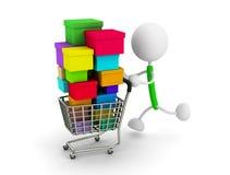 Shopping cart. 3d render illustration.Shopping cart Stock Image