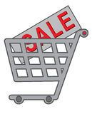 Shopping cart. Vector shopping cart with text SALE on purchase Royalty Free Stock Photo