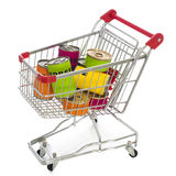 Shopping cart. Isolated on white. close up royalty free stock photo
