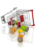 Shopping cart. Isolated on white. close up stock image