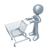 Shopping Cart. 3d person with a shopping cart Royalty Free Stock Image