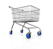 Shopping cart. One empty shopping cart with blue wheels (3d render Royalty Free Stock Images