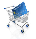 Shopping cart. One empty shopping cart with a credit card (3d render Royalty Free Stock Images