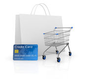 Shopping cart. One empty shopping cart with a credit card and a shopping bag (3d render Stock Photos