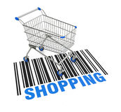 Shopping cart. One empty shopping cart with a bar code on the floor (3d render Royalty Free Stock Images