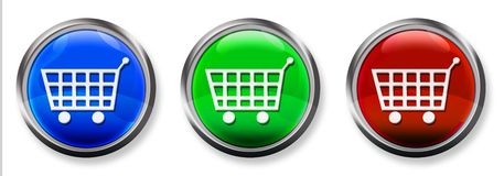 Shopping Cart 3-D RGB Button Stock Photos