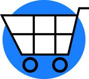 Shopping Cart. Simple shopping cart graphic on blue circle Stock Photography