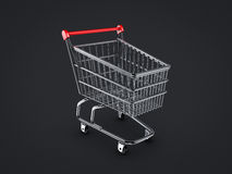 Shopping cart. On black backgrounds Stock Images