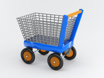 The shopping cart. With metal basket Royalty Free Stock Photo