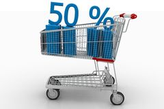 Shopping Cart With 50 Percentage Royalty Free Stock Photos