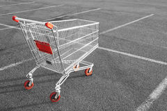 Shopping cart. In a store parking lot Royalty Free Stock Photo