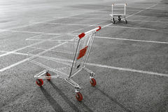 Shopping cart. In a store parking lot Royalty Free Stock Photography
