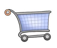 Shopping cart. Blue shopping cart- color illustration Stock Images