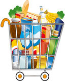 Shopping cart. Full of food Stock Images