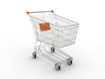 Shopping cart. 3D generated image Stock Photography