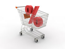 Shopping cart. 3D generated image Stock Photos