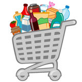 Shopping cart. Vector illustration of shopping cart full of different products Royalty Free Stock Photography