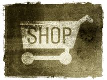 Shopping Cart. A grunge shopping cart on a textured background with a white border Royalty Free Stock Photos