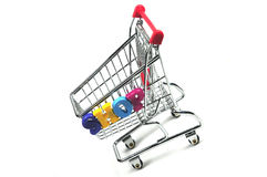 Shopping cart. A shopping cart with the word shop Royalty Free Stock Photography