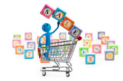 Shopping cart against the  background Stock Image