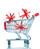 Shopping cart ahd gift Stock Photo