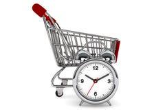 Shopping Cart with Alarm Clock Stock Photo
