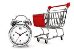 Shopping Cart with Alarm Clock Stock Photography