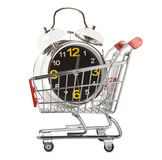 Shopping cart with alarm clock Stock Photo