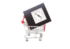 Shopping Cart with Alarm Clock Royalty Free Stock Photo