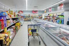 Shopping Cart in a ALDI supermarket Stock Photo