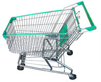 Full size empty green shopping cart with isolated  Royalty Free Stock Photos