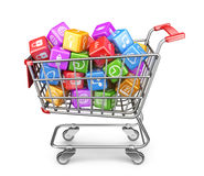 Shopping cart with app icons. 3D Isolated. On white background Royalty Free Stock Photo