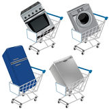 Shopping cart with appliances Stock Photo
