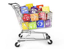 Shopping cart with application software icons. 3d render of a shopping cart with application software icons  on a white background Stock Photo