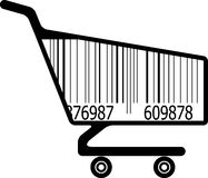 Shopping cart with ar code Stock Photography