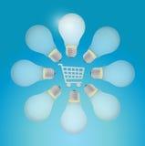 shopping cart around light bulbs. Stock Photo