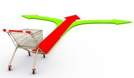 The shopping cart and arrow of choice Royalty Free Stock Images