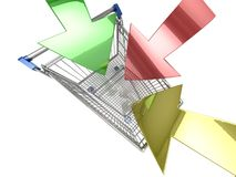 Shopping cart with arrow Stock Images