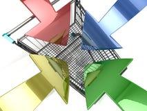 Shopping cart with arrow Stock Photo