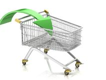 Shopping cart with arrow Stock Photography