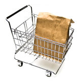 Shopping Cart with Bag Stock Photography